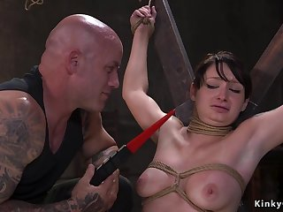 Bound slave suffers suspension and have intercourse