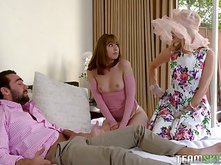 Gorgeous chick Daphne Dare and her nasty GF fuck one handsome dude