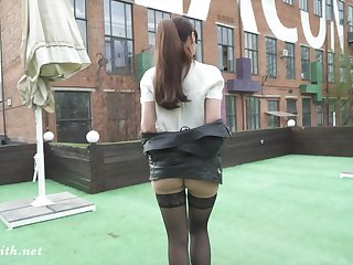 Flashing stockings line with mini skirt by sexy Jeny Smith