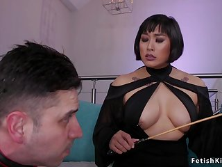 Pierced large-breasted Asian dom butt sex fucks man