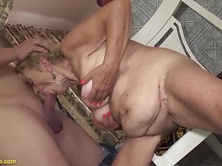 Extreme hairy big belly 8 old granny loves to fuck with her big cock toyboy