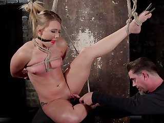 Rough pron in BDSM scenes for the submissive blonde