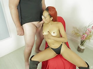 White dude pumps her brown pussy until she begins to tremble