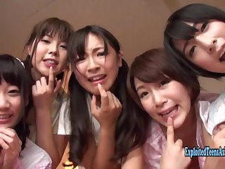 Five Jav Idols Fuck lucky Guy In Their Bedroom