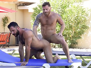 Bareback dotty anal fantasy by the pool