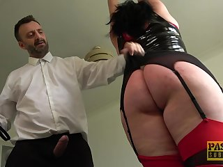 Tall BBW with a fat dimpled butt gets punished and fucked