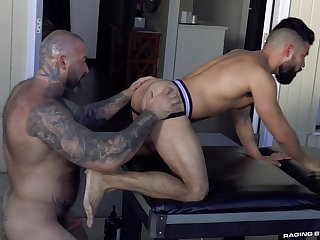 First time these muscular men meet for a wild anal bareback fuck