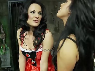 Two sexy bitches in stockings are playing a dirty game, while no one else is not there