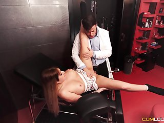 Submissive darling gets fucked in a Master's well-appointed dungeon