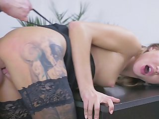 Blonde hottie bends in doggy to feel the dick deeper