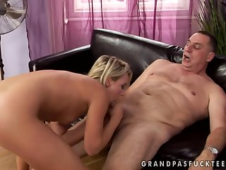 Old fart and 18yo girl hard sex video