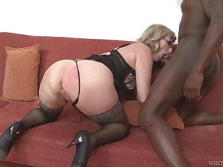 Mature housewife with big booty Aja C is into riding and sucking fat BBC