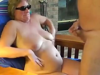 This shameless mature slut loves making me cum with her shades on