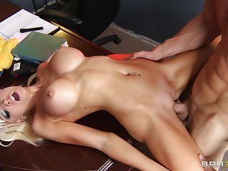 Fit blonde Rikki Six spreads her long legs for her horny boss