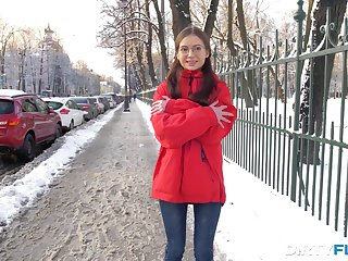 Frozen teen in glasses Selena is warmed up with hardcore analfuck
