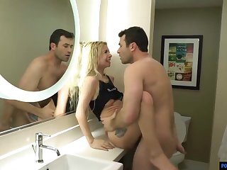 Naughty blonde babe, Kenzie Reeves is expecting a rough fuck with a stranger, in a hotel room