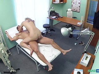 Sylvia V. ends up riding her doctor's cock in the treatment room