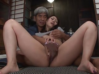 Asian honey and her husbands father are fucking in his bedroom, in the middle of the night