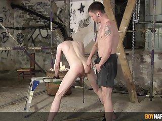 Sexual fun between twinks in scenes of BDSM anal