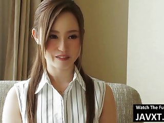 Japanese beauty is riding her bosss rock hard dick early in the morning, in a hotel room