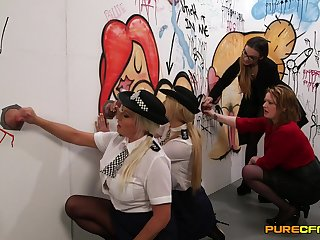 Naughty police officers Amber Jayne and Amber West suck dicks